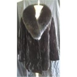 Black Dyed Sheared Mink Sections 3/4 Coat with Sheared Mink Collar and Cuffs.     Coat