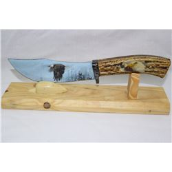 Bald Eagle on Wood Stand Imitation Bone Handle O/A 10""