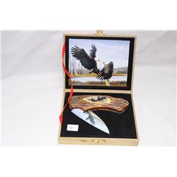 "3"" Eagles Wild Outdoors Bone Look Handle in Case"