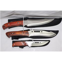 "Set of 3 Hunting Knives with Sheaths 1 - 7"", 6"" & 4"" Blades .440 Steel"