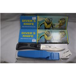 "2 - Diver's Knives Stainless Steel 4 1/2"" Blade"