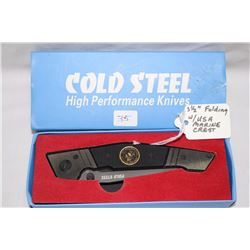 "3 1/2"" Folding Knife Cold Steel with USA Marine Crest"