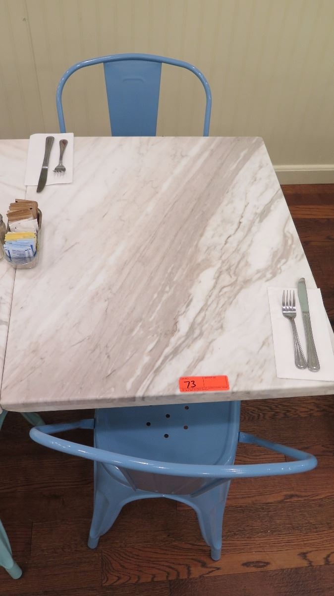 ... Image 2 : White Solid Marble Table W/Wrought Iron Base + 2 Blue Chairs