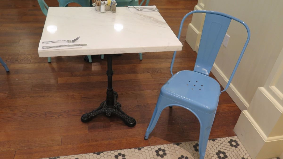 Image 1 : White Solid Marble Table W/Wrought Iron Base + 1 Blue Chair ...