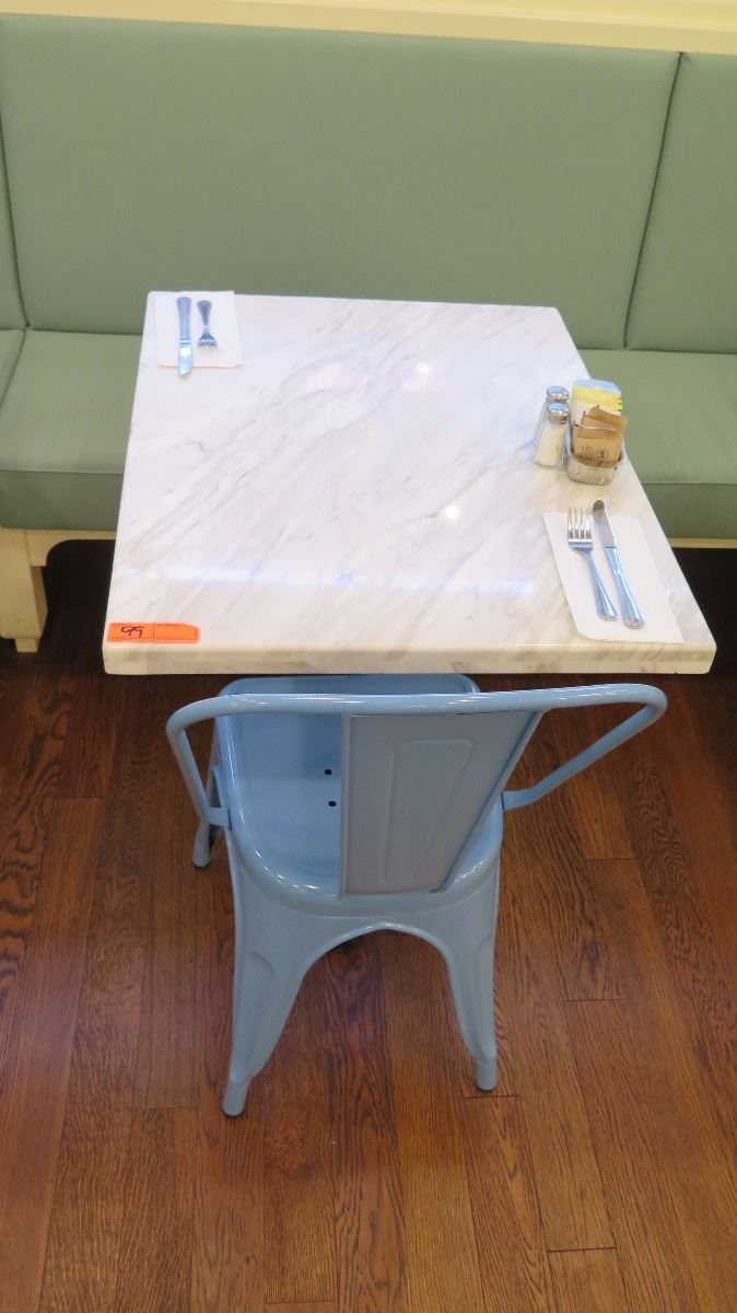 Superb ... Image 2 : White Solid Marble Table W/Wrought Iron Base + 1 Blue Chair