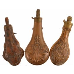 3 Antique Copper Powder Flasks