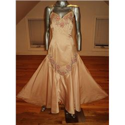 Couture Isabell Gerhart 1950 Hand Beaded Pink Soie Gown