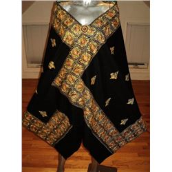 Antique Yemenite Hand Embroidered Silk/Wool Big Shawl