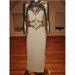 Claude Montana Italy Couture Embellished Crepe Gown