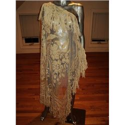 Edwardian Shawl/Toga Hand Embroidered Lace Long Fringes