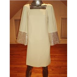 Vintage 1950's trapeze A-line dress heavily embellished gold pearl sequin embroidery on bell sleeves