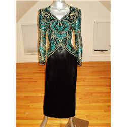 Vintage Silk Fully Beaded Gown Sequin Embellished 1960