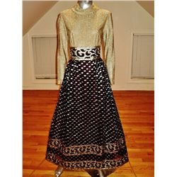 Vintage 1970's Couture maxi gown  Lurex lame' Gold raised metallic Futura Couture Rare