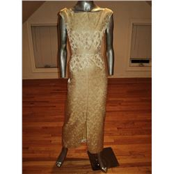 Gold Brocade 1950 Cocktail Gown Slit Front Plunged Back