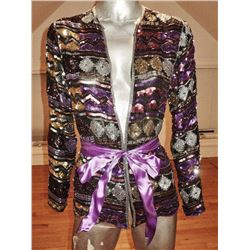 Purple 1960 Jeweled Evening Jacket Mosaic Beads Sequins