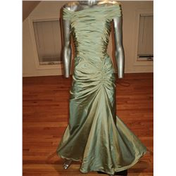 Designer Gown Shirred Trumpet Sweep Moss Shantung