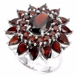 Natural Orange Garnet Ring