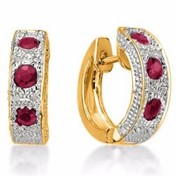 Genuine Ruby & Diamond Earrings