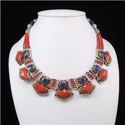 Tibet Hand Made Natural Coral, Lapis Lazuli Necklace