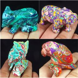 Hand Carved Colorful Calsilica Gemstone 4 Animals
