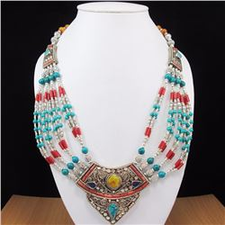 Tibet Natural Amber, Coral, Turquoise & Lapis Necklace