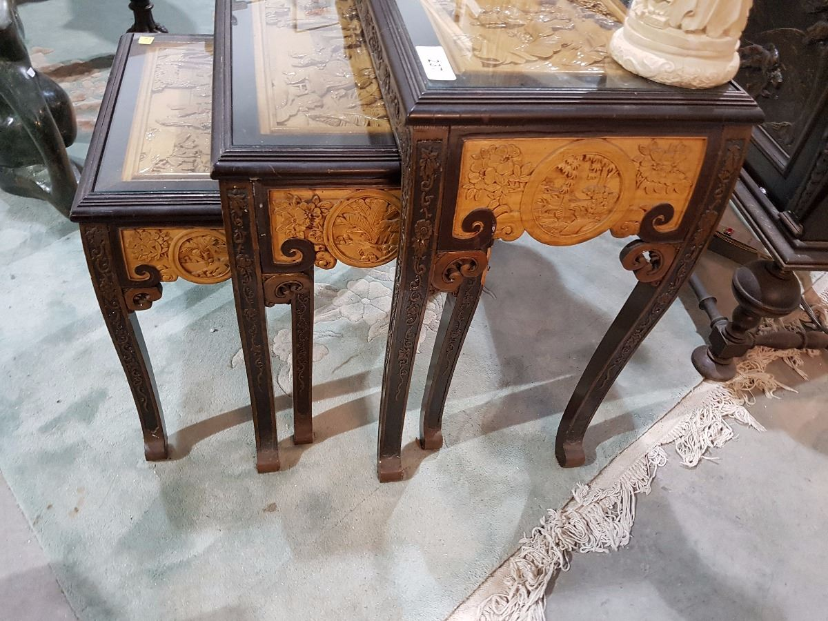 Set Of 3 Glass Tables: SET OF 3 HIGHLY CARVED ASIAN NESTING TABLES W/GLASS INSERTS