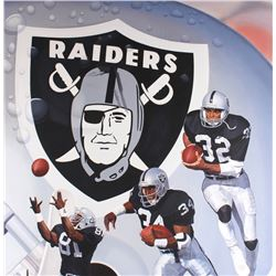 """Danny Day Signed Raiders """"Silver and Black Heisman Attack"""" 42x54 Custom Framed Original 1991 Oil Pai"""