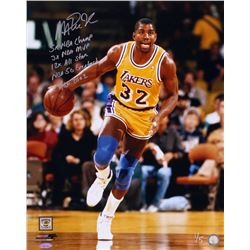 Magic Johnson Signed Lakers LE 16x20 Photo with (5) Career Stat Inscriptions (TriStar Hologram)
