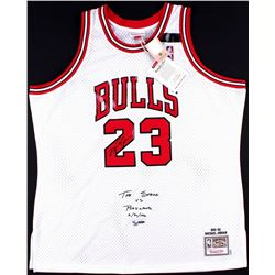"Michael Jordan Signed LE ""The Shrug"" Bulls Authentic Mitchell  Ness On-Court Jersey #4/23 (UDA COA)"