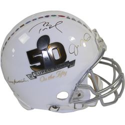 """Multi-Signed LE """"Super Bowl on The 50"""" Full-Size Authentic Proline Helmet with (3) Signatures Includ"""
