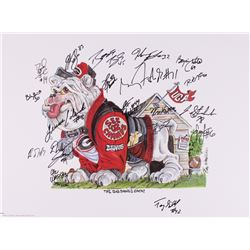 """""""The Big Dawg Is Back"""" Georgia 18x24 LE Lithograph #1868/2500 Signed by (19) with Terrence Edwards,"""