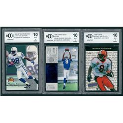 Lot of (3) Marvin Harrison BCCG Graded 10 Football Cards with 1996 Fleer Rookie Write-Ups #6, 1996 U