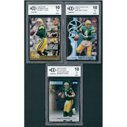 Lot of (3) Brett Favre BCCG Graded 10 Football Cards with 1996 Stadium Club Fusion #F5A, 2007 Playof