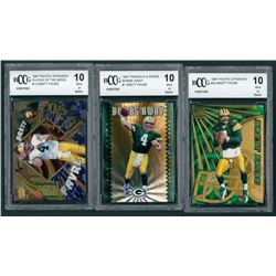 Lot of (3) Brett Favre BCCG Graded 10 Football Cards with 1997 Pacific Dynagon #54, 1997 Pinnacle X-