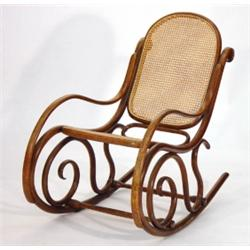 thonet bentwood rocking chair with reeded s