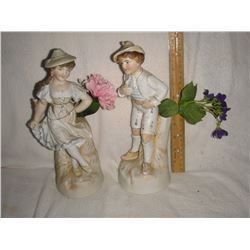 Lovely useful antique Parian vases girl and boy - tres vieux vases utiles garcon et fille