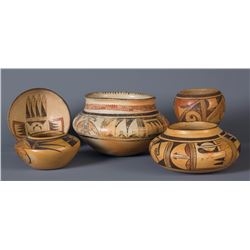 Collection of Five Hopi Pots