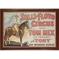 Tom Mix, Sells-Floto Circus Original Lithograph Poster