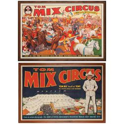 Two Tom Mix Circus Original Lithograph Posters
