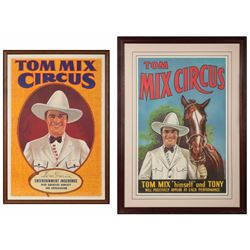 Pair of Tom Mix Circus Original Lithograph Posters