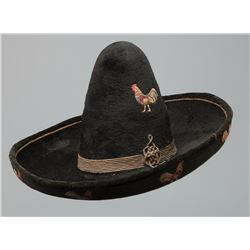 High Crown 19th century Sombrero with Embroidered Roosters