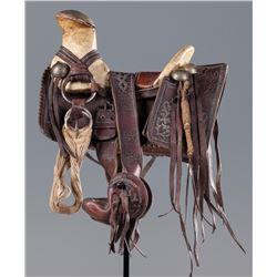 Miniature 19th century Sample-Size Mexican Saddle