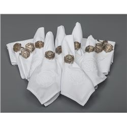 Charlie Russell Riders Fine Embroidered Napkins and Sterling Buffalo Skull Napkin Rings