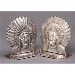 Edward H. Bohlin Sterling Indian Head Bookends