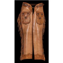 Unmarked Visalia Tooled Show Chaps