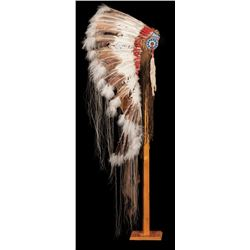Contemporary Turkey Feather Replica Headdress with Stand