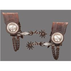 California Silver Inlaid Diamond Spurs