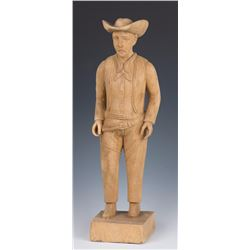Carved Wooden Cowboy Figure