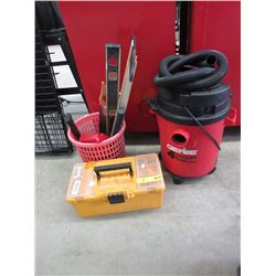 Basket of tools, shop vac & tool box