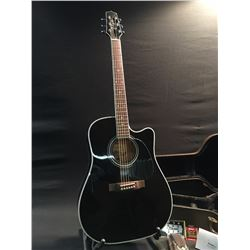 TAKAMINE MODEL EF341SC ACOUSTIC/ELECTRIC GUITAR, BLACK WITH WHITE TRIM, WITH ORIGINAL TAKAMINE HARD